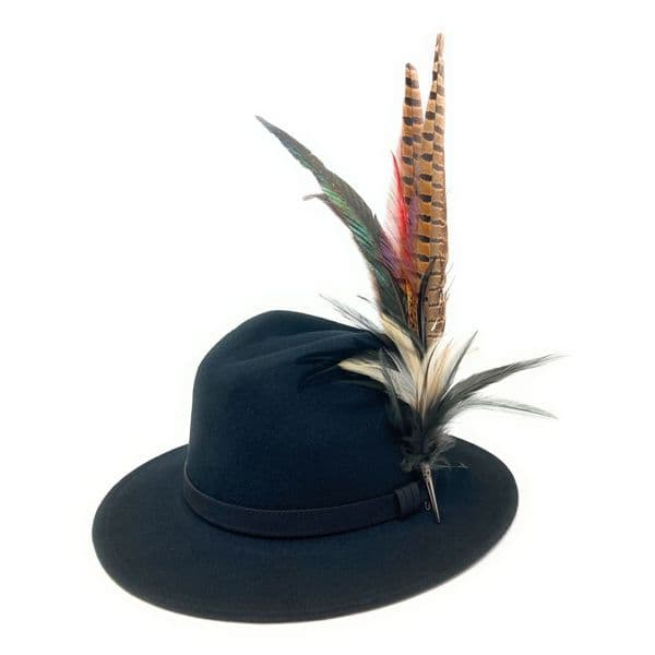 Womens Wool Fedora Hat with Leather Belt Trim and Country Feather Brooch - Rissington